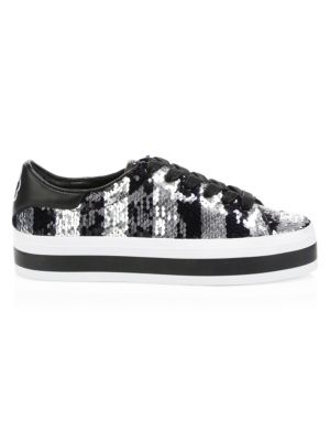 ALICE AND OLIVIA Ezra Striped Sequin Sneakers