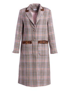 Leida Leoprard & Plaid Trench Coat