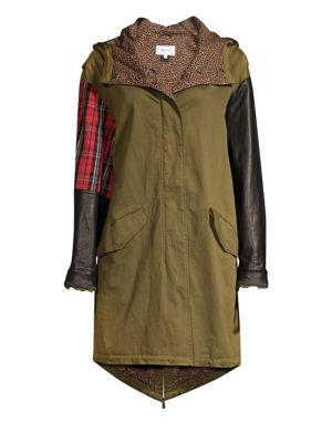 The Harper Mixed-Media Hooded Parka Jacket in Capulet Olive