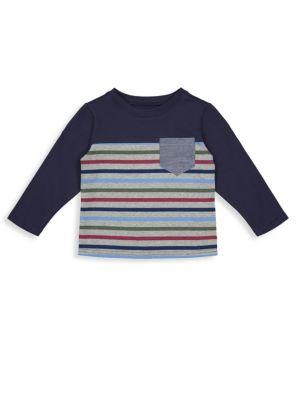 Little Boy's & Boy's Colorblock Stripe Pocket Long-Sleeve Tee