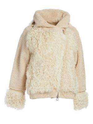 Julia & Stella For The Fur Salon Shearling Peace & Love Moto Jacket