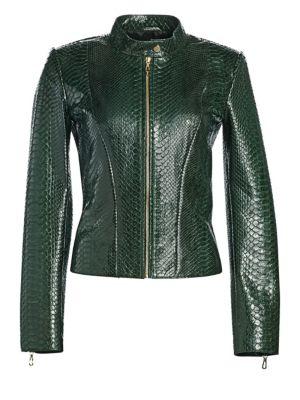 Dyed Python Moto Jacket, Dark Green