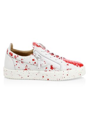 Low-Top Leather Splash Paint Sneakers