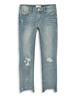 Girl's Faux Pearl Cropped Jeans