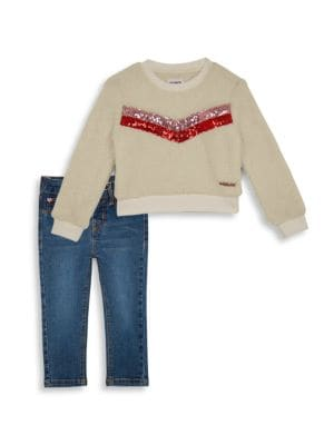 Baby Girl's & Little Girl's Two-Piece Sequin Pullover & Jeans Set