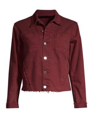Janelle Slim Cropped Jean Jacket With Raw Hem in Garnet