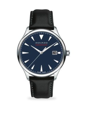 Heritage Automatic Round Stainless Steel & Leather Strap Watch