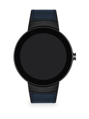 Connect Dark Grey Stainless Steel Leather Strap Smart Watch