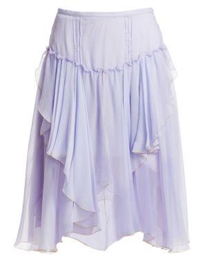 SEE BY CHLOE | Ruffled Silk A-Line Handkerchief Skirt | Goxip