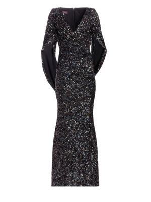 Sequin Eternity-Sleeve Cape Gown
