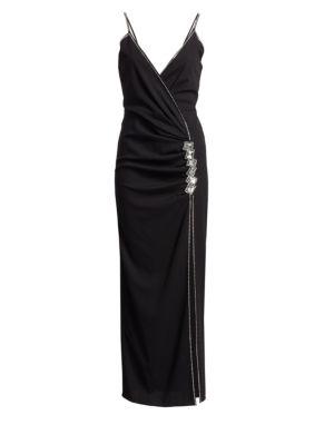 Embellished Stretch Wool Slit Dress