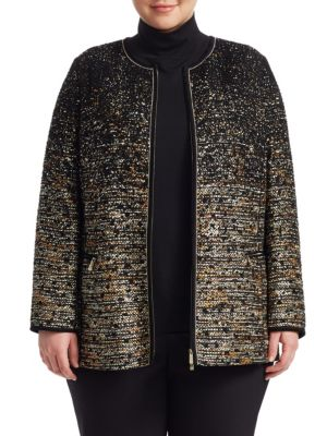 Karina Tweed Collarless Jacket