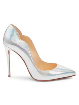 Hot Chick 100 Iridescent Leather Pumps in Silver