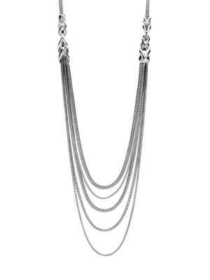Chain Silver Five-Strand Bib Necklace