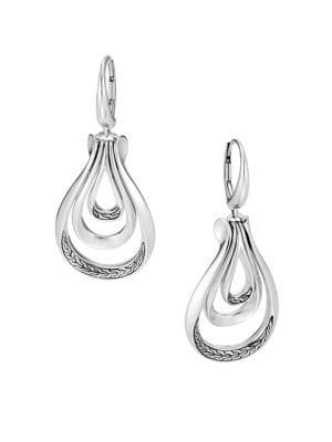 JOHN HARDY Chain Silver Cutout Teardrop Earrings