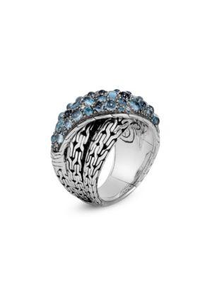 Classic Chain Silver, London Blue Topaz, Swiss Blue Topaz & Blue Zircon Crossover Ring