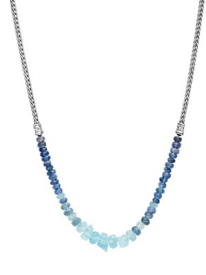 Classic Chain Silver, Aquamarine & Kyanite Mini Necklace