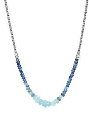 Classic Chain Silver, Aquamarine & Kyanite Mini Necklace