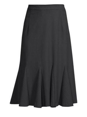 ELIE TAHARI Oakley Pinstripe Godet Pleat Skirt