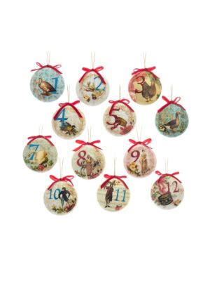 Boxed 12 Days of Christmas 12-Piece Ball Ornament Set