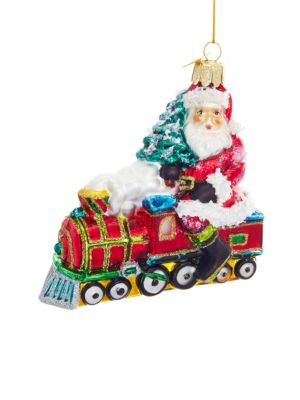 Nobel Gems Santa On Train Ornament