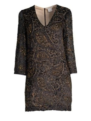 Riska Embellished Paisley Jacquard Shift Dress