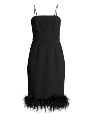 MILLY Cady Elle Feather Hem Sheath