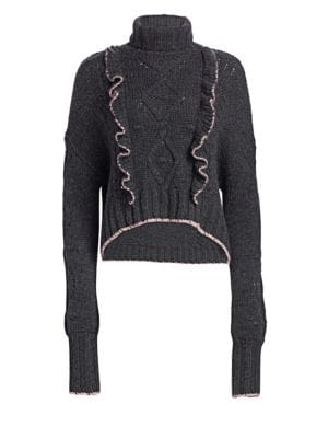Edna Ruffled Turtleneck Sweater