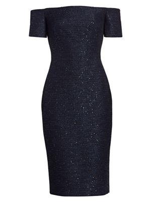 Sequin Embroidery Tweed Midi Dress