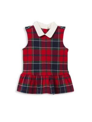 Little Girl's & Girl's Jacquard Plaid Peplum Top