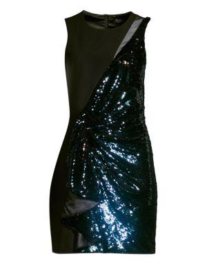 Albany Mixed Media Sequined Dress