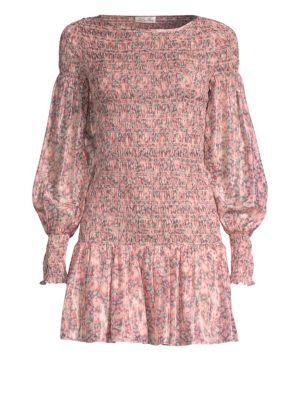 LOVESHACKFANCY Scarlett Smocked Silk Mini Dress
