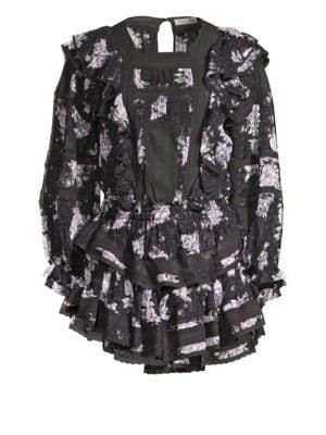 Minetta Silk Ruffled Floral Dress