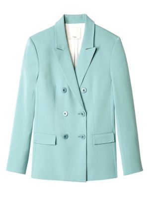 Steward Oversized Double-Breasted Stretch-Crepe Blazer in Turquoise