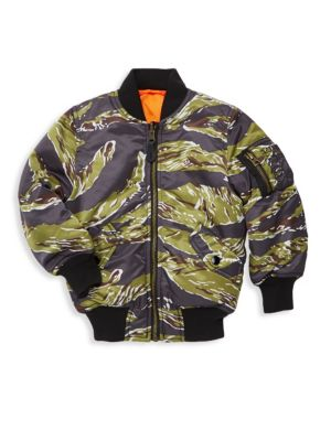 Little Boy's and Boy's Tiger Camo Bomber Jacket