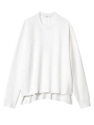 Merino Wool Pullover Sweater in White