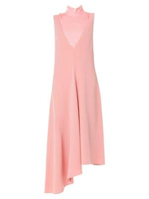 Deep V-Neck Asymmetric Draped Jumper in Pink