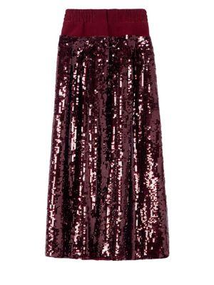 Burgundy Sequined Double Waist Full Skirt in Red