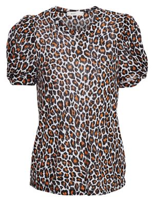 Kati Leopard-Print Cotton T-Shirt Size Xs in White/Natural
