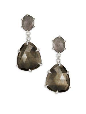 Sterling Silver, Pyrite & Labradorite Drop Earrings