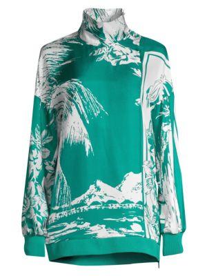 Leilani Tropical-Print Silk Sweatshirt