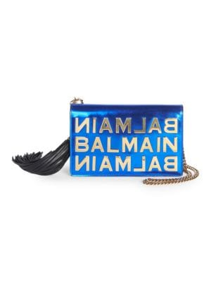 Mirrored Leather Logo Pouch