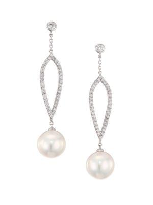18K White Gold, Pearl & Diamond Teardrop Earrings