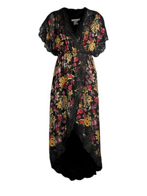 Adele Floral High-Low Wrap Dress
