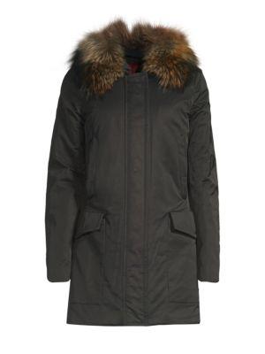 POST CARD Barwa Fur-Trim Parka Jacket in Nero