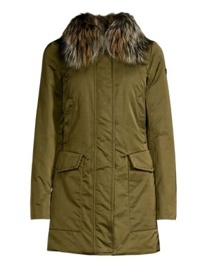 POST CARD Barwa Silver Fox Fur Collar Jacket in Verdefo Gliame