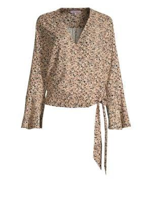 Leopard Bell Sleeve Wrap Top