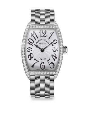 FRANCK MULLER Cintree Curvex 39Mm Stainless Steel & Diamond Bracelet Watch in Silver