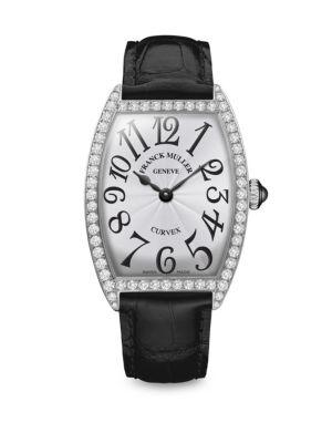 Cintree Curvex 35MM Stainless Steel, Diamond & Alligator-Strap Watch