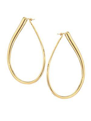 18K Gold Teardrop Hoop Earrings